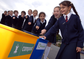 Pupils using our schools recycling service